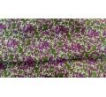 Шелк шифон Фиолетовые цветочки на болотном фоне