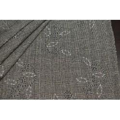 Костюмный шёлк твидовой фактуры, серо-бежевая клетка с вышивкой