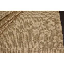 Костюмный шёлк твидовой фактуры, бежево-светло-коричневая ёлочка